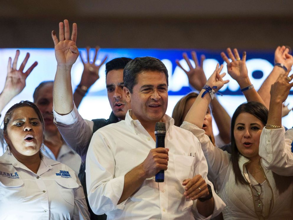 PHOTO: Honduran President Juan Orlando Hernandez speaks to supporters at a campaign headquarters in Tegucigalpa, Honduras, Jan. 27, 2017.