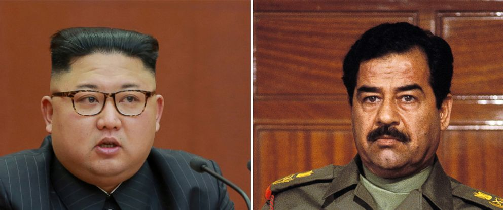 PHOTO: North Korean leader Kim Jong Un, left, former president of Iraq Saddam Hussein.