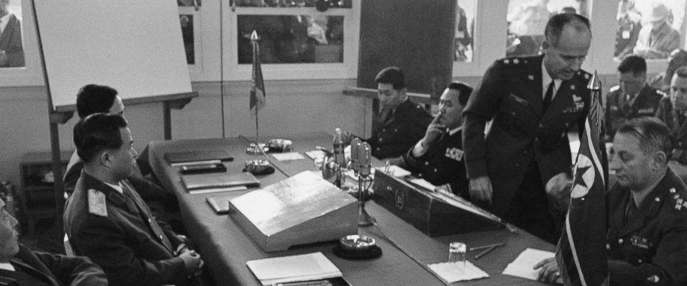 PHOTO: U.S. Air Force Maj. Gen. James B. Knapp walks out of Military Armistice Commission meeting at Panmunjom, Korea, April 18, 1969, after denouncing North Koreas shooting down of an American reconnaissance plane.