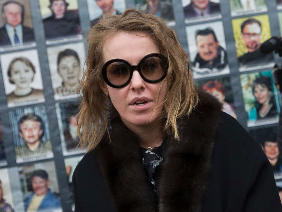 PHOTO: Ksenia Sobchak speaks to journalists after attending a ceremony marking the 15th anniversary of the 2002 Chechen gunmen attack on a Moscow Theatre, in Moscow, Russia, Oct. 26, 2017.