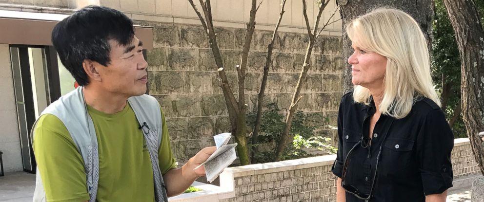 PHOTO: Martha Raddatz interviews North Korean defector Lee Min-bok who is now an activist.