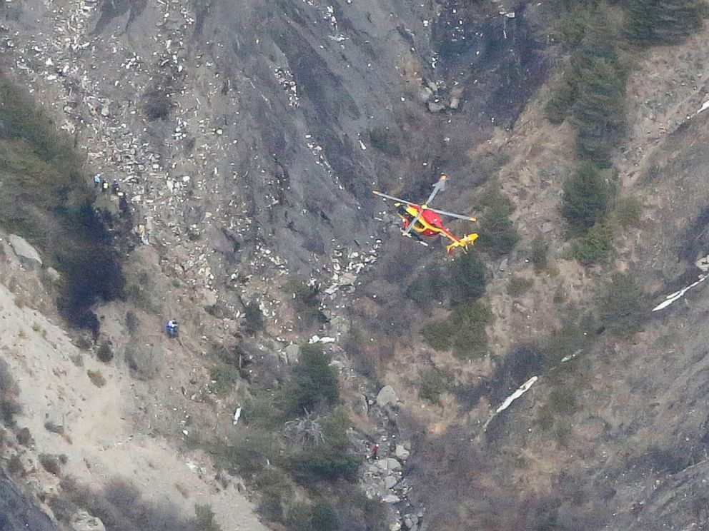PHOTO: Wreckage is seen where a Germanwings Airbus A320 airliner has crashed in the French Alps between Barcelonnette and Digne on March 24, 2015.