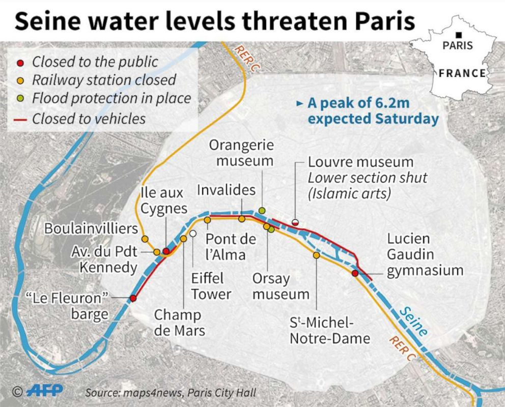 River Seine continues to rise due to record rainfall