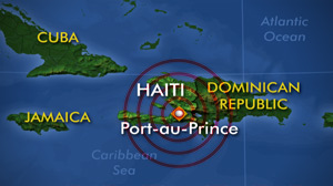 Earthquake, map Haiti, Port-au-Prince