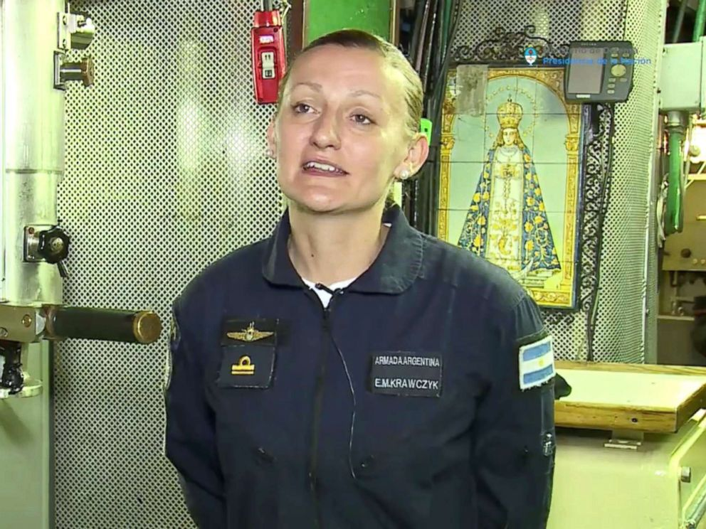 PHOTO: Maria Krawczyk, a submarine officer on board the Argentine navy submarine ARA San Juan is seen in this still image taken from a Ministry of Defense of Argentina.