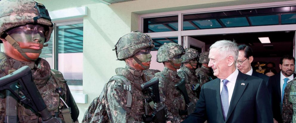 PHOTO: US Defense Secretary Jim Mattis greets troops during a visit at the Demilitarized Zone between North and South Korea, Oct. 27, 2017.