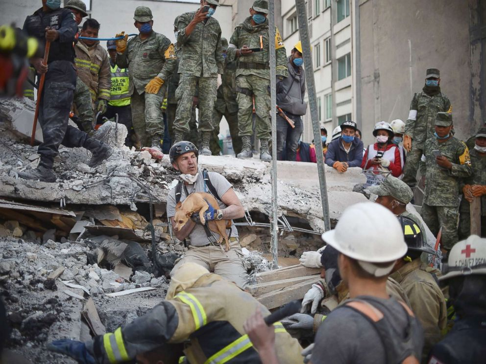 PHOTO: A rescuers pulls a dog out of the rubble during the search for survivors in Mexico City, Sept. 20, 2017, after a strong earthquake hit central Mexico on Sept. 19, 2017.