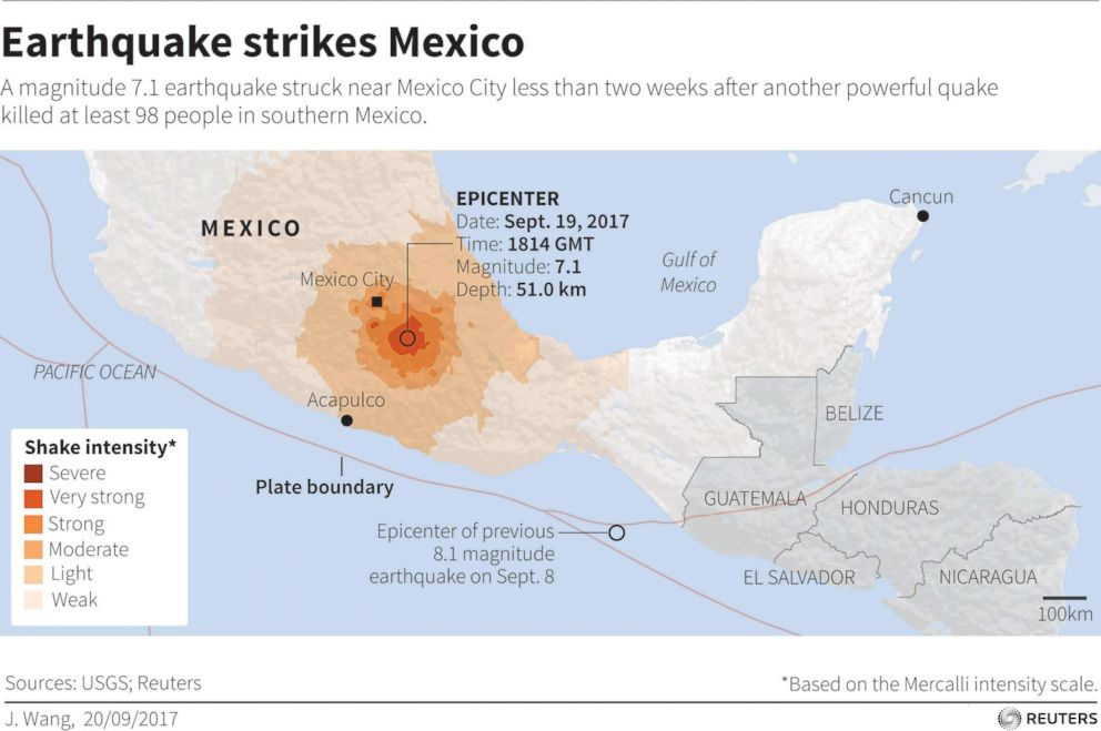 PHOTO: Map locating earthquake that struck Mexico on September 19, 2017.
