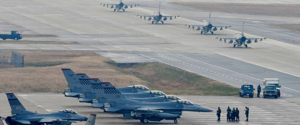 PHOTO: U.S. Air Force F-16 Fighting Falcon fighter aircraft, assigned to the 36th Fighter Squadron, participates in an elephant walk during Exercise Vigilant Ace 18 at Osan Air Base, Republic of Korea, Dec. 3, 2017.