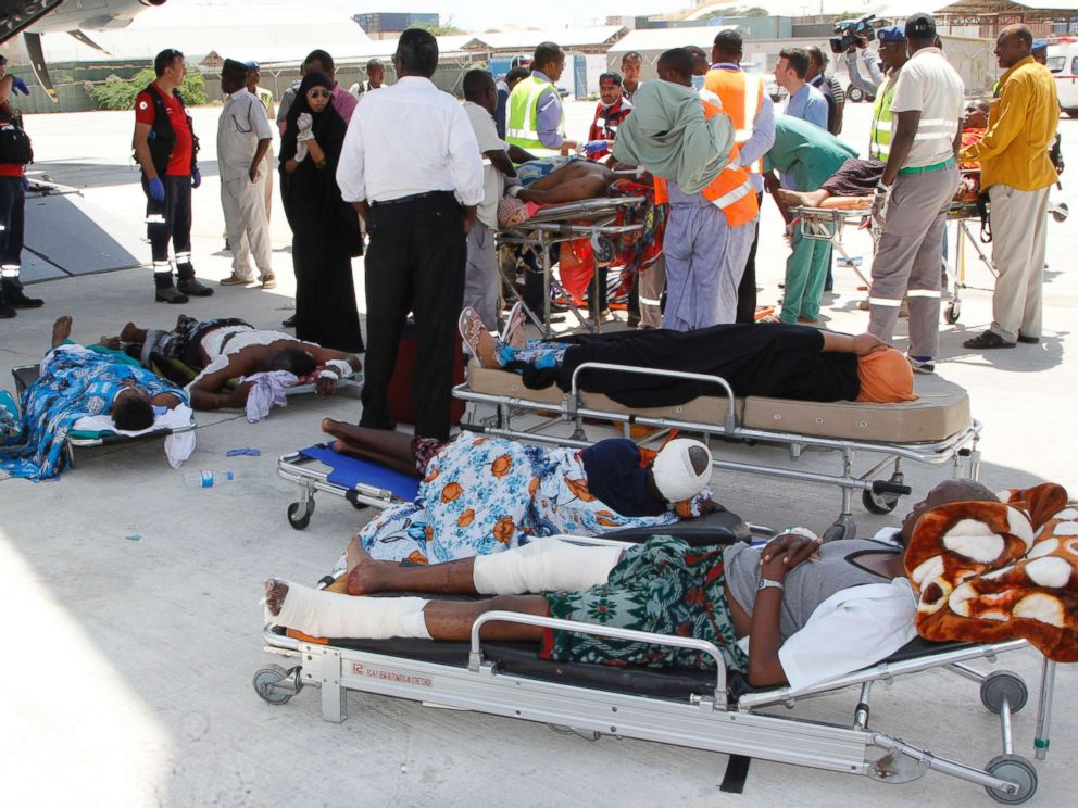 PHOTO: Critically wounded people in Mogadishu wait to be moved into a waiting Turkish plane to be airlifted for treatment to Turkey from Somalia, Oct. 16, 201, after a truck bomb attack left hundreds dead on Oct. 14.