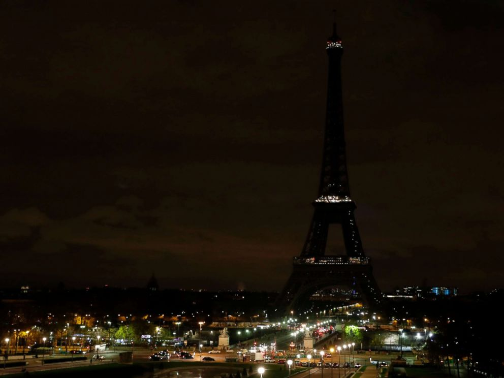 PHOTO: The lights of the Eiffel Tower in Paris are switched off in tribute to the victims of the deadly attack on a mosque in Egypts Sinai, Nov. 24, 2017.