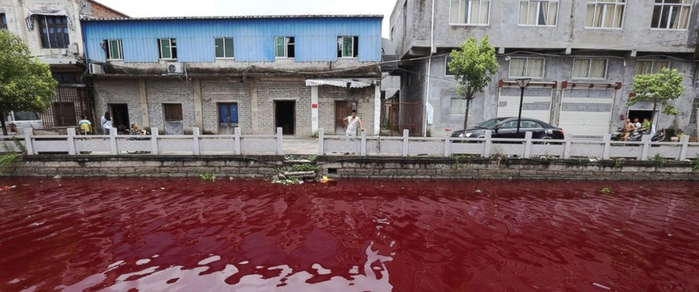 PHOTO: The water in a river in Xinmeizhou village in eastern Chinas Zhejiang province turned red overnight, baffling locals, July 25, 2014.