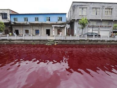 Photos: River Turns Blood Red Overnight