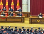 PHOTO: North Korean leader Kim Jong-un, center, attends a plenary meeting of the Central Committee of the Workers Party of Korea in Pyongyang, March 31, 2013.