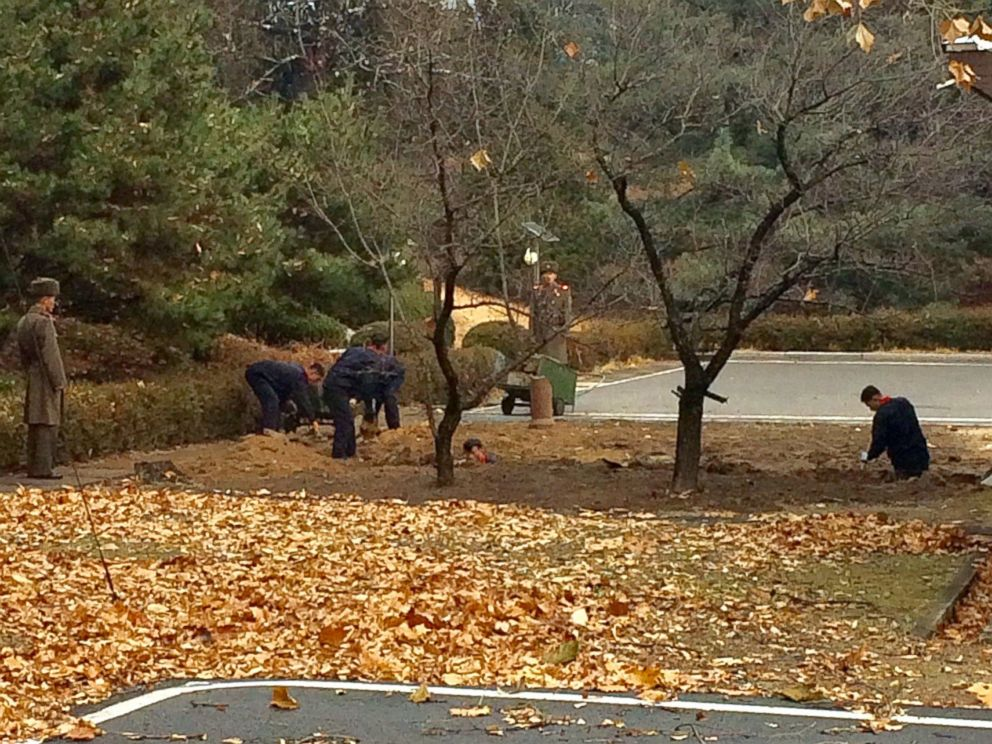 PHOTO: North Korean soldiers dig a trench and plant trees in the area where, on Nov. 13, a defector ran across the border at the Demilitarized Zone dividing North Korea and South Korea Nov. 22, 2017.
