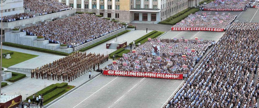PHOTO: A rally in support of North Koreas stance against the US, on Kim Il-Sung square in Pyongyang, Aug. 9, 2017.