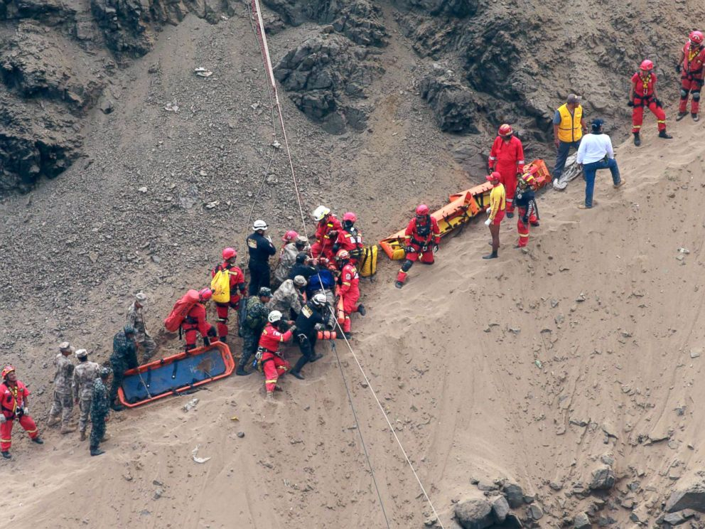 PHOTO: Rescue workers surround an injured man on a stretcher who was lifted up from the site of a bus crash at the bottom of a cliff in Pasamayo, Peru, Jan. 2, 2018.