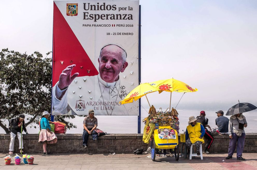 PHOTO: Banners welcoming Pope Francis to Peru are seen in Lima, Jan. 13, 2018.