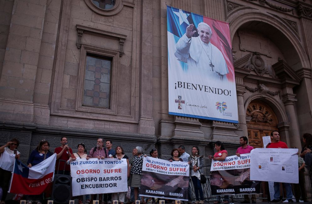 PHOTO: Members of a lay community hold banners reading Osorno suffer as they gather at a rally against Osornos city bishop, Juan Barros, in front of the Cathedral of Santiago, Jan. 13, 2018 in Santiago, Chile.