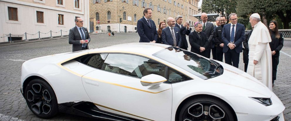 PHOTO: The Vatican released this photo on Nov. 15, 2017, by the Vatican press office, Osservatore Romano, showing Pope Francis receiving a Lamborghini Huracan as a gift from the Italian car company, with Lambhorgini CEO Stefano Domenicali.