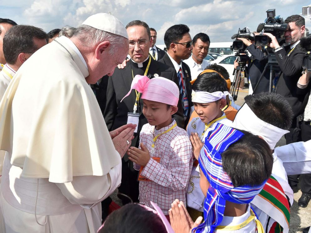 PHOTO: Pope Francis is welcomed as he arrives at Yangon International Airport in Myanmar, Nov. 27, 2017.