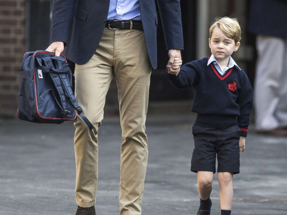 PHOTO: Prince George of Cambridge arrives for his first day of school with his father Prince William, Duke of Cambridge at Thomass Battersea, Sept. 7, 2017 in London.