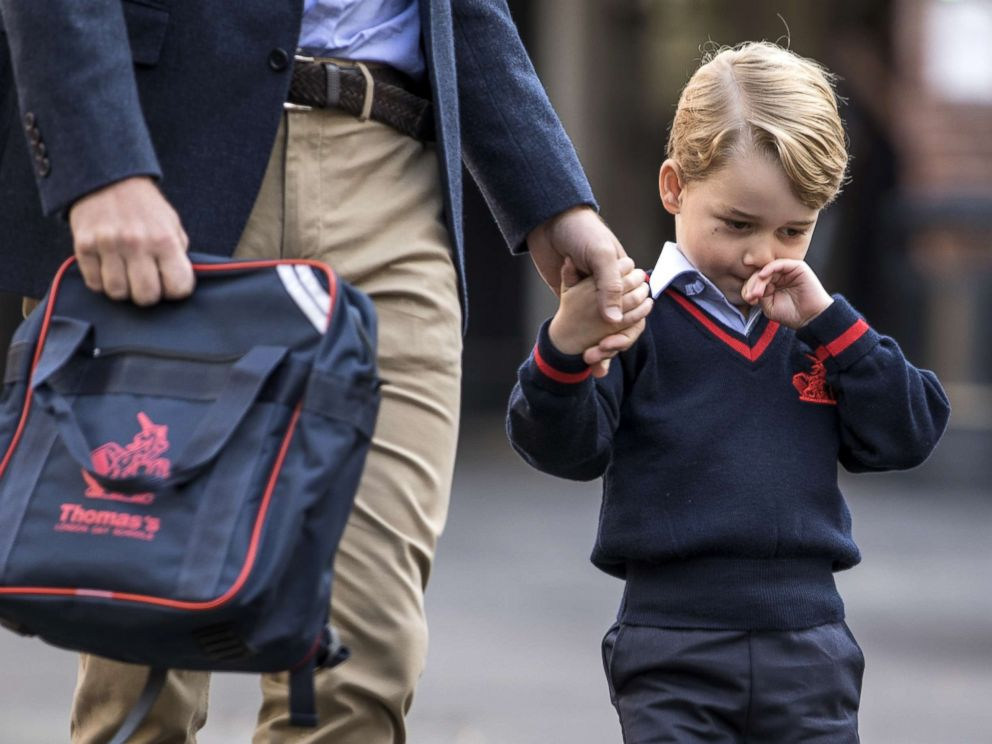 PHOTO: Prince George of Cambridge arrives for his first day of school at Thomass Battersea, Sept. 7, 2017 in London.