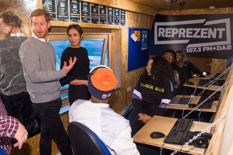 PHOTO: Prince Harry and Meghan Markle visit Reprezent 107.3FM in Pop Brixton, Jan. 9, 2018 in London.