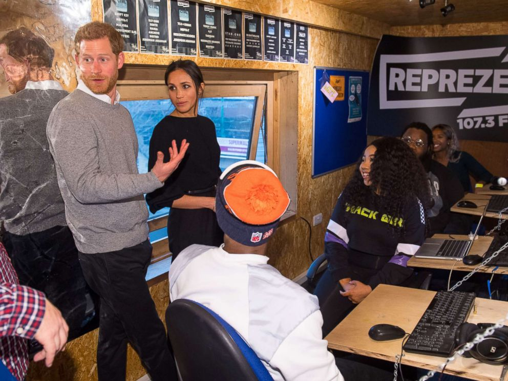 PHOTO: Prince Harry and Meghan Markle during a visit to youth-orientated radio station, Reprezent FM, in Brixton, south London, to learn about its work supporting young people, Jan. 9, 2018.