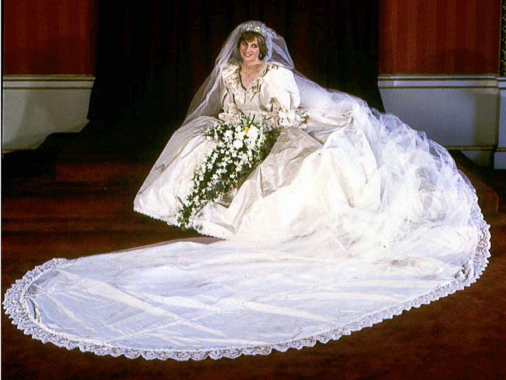 PHOTO: Diana, Princess of Wales, in her wedding dress worn at her wedding to Prince Charles in London, July 29, 1981.