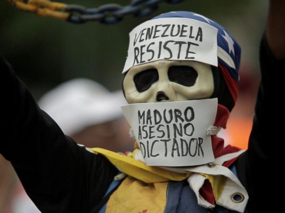 PHOTO: An anti-government protester during a rally in Caracas, Venezuela.