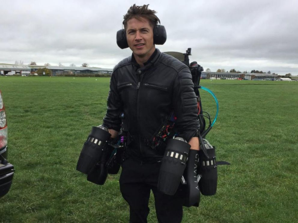 PHOTO: ABC News James Longman tries on Richard Brownings jet suit.