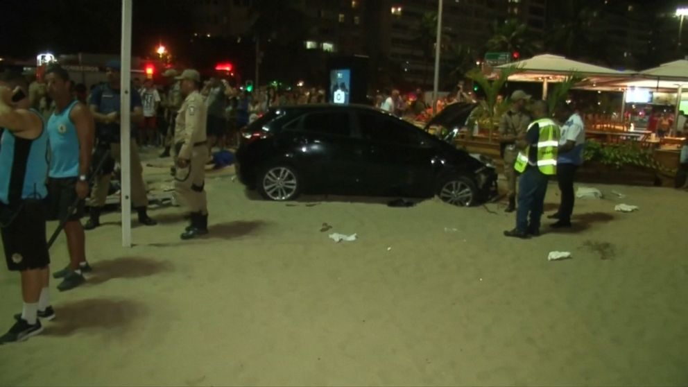 Auto hits crowd at Brazil's Copacabana, injuring 11