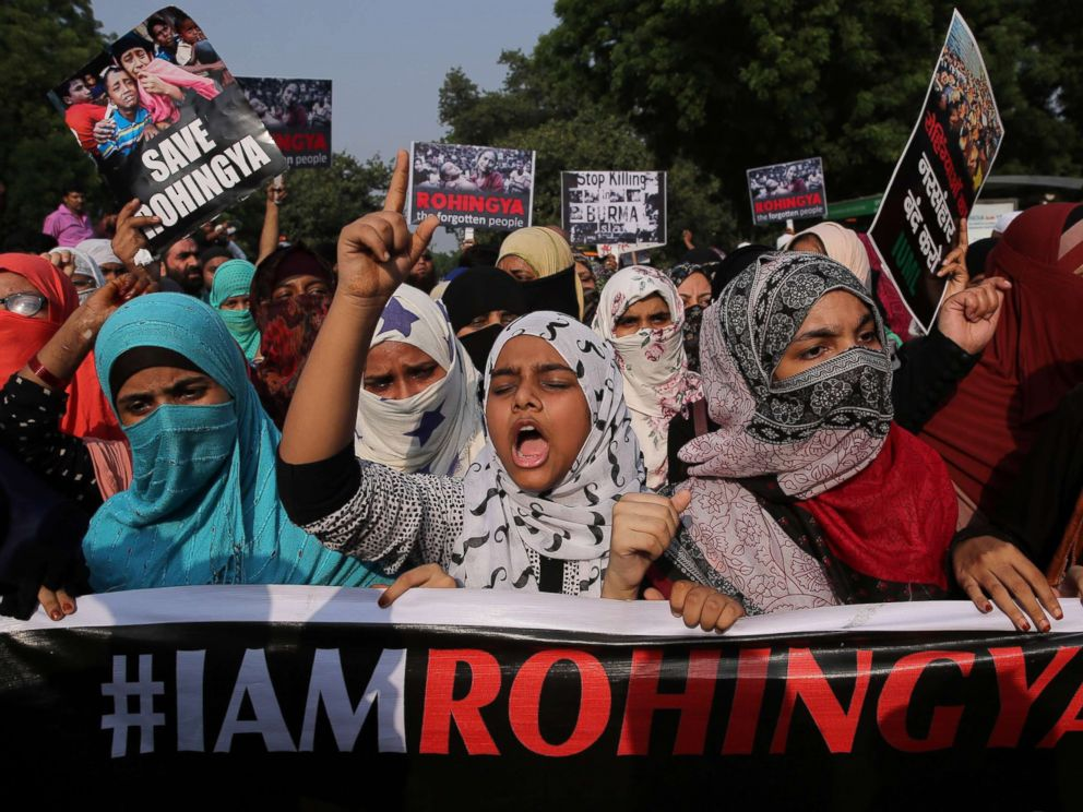PHOTO: Indian activists hold placards during a protest march against the alleged persecution of Myanmars Rohingya Muslim minority in New Delhi, Sept. 13, 2017.
