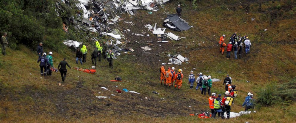 PHOTO: Wreckage from a plane that crashed into Colombian jungle with Brazilian soccer team Chapecoense is seen near Medellin, Colombia, Nov. 29, 2016.