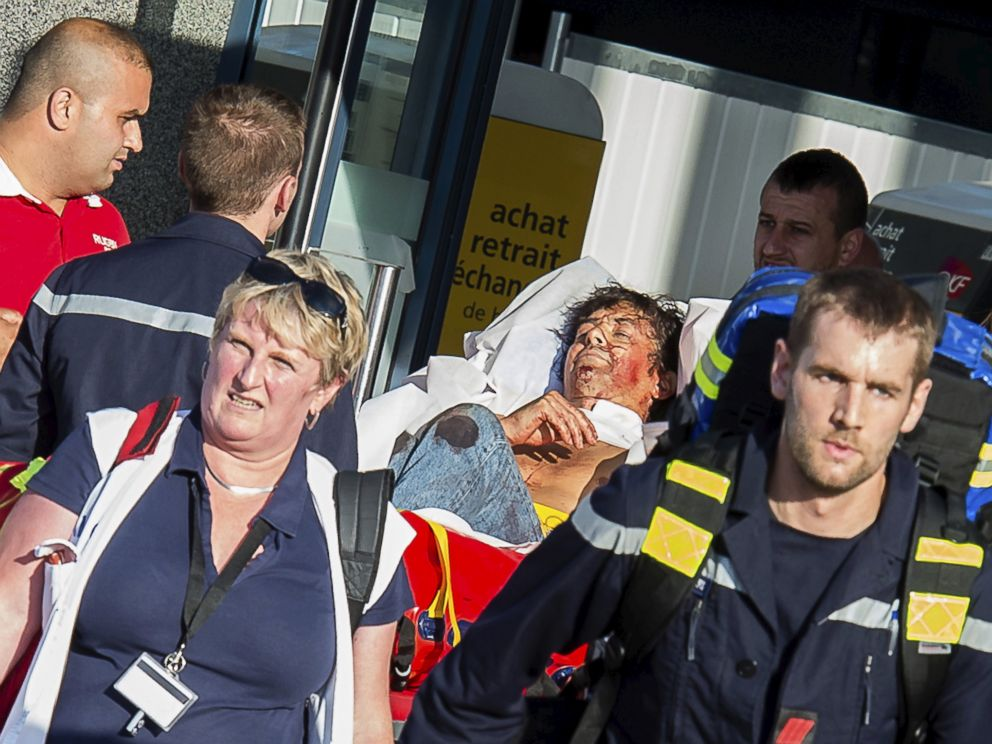 PHOTO: French emergency services transport a victim after a shooting on the Amsterdam to Paris Thalys high-speed train in Arras, France, Aug. 21, 2015.