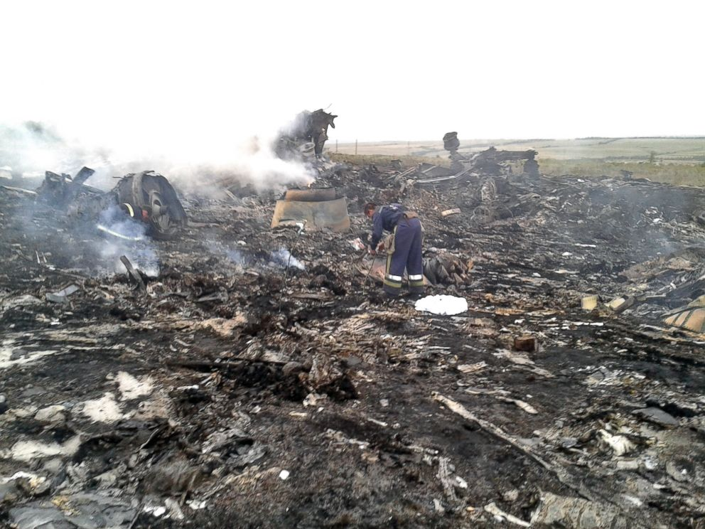 PHOTO: An Emergencies Ministry member works at the site of a Malaysia Airlines Boeing 777 plane crash in the settlement of Grabovo in the Donetsk region, July 17, 2014.