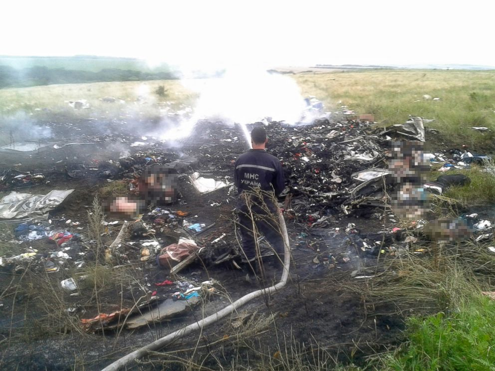 PHOTO: A man works at putting out a fire at the site of a Malaysia Airlines Boeing 777 plane crash in the settlement of Grabovo in the Donetsk region, July 17, 2014.