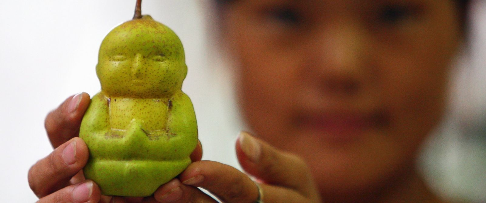 PHOTO: A Buddha shaped pear is displayed at an orchard in Weixian county, Hebei province, Sept. 10, 2009.