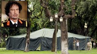Photo: Libyan leader Muammar Gaddafi in Rome. Tent for the leader set up in Rome.