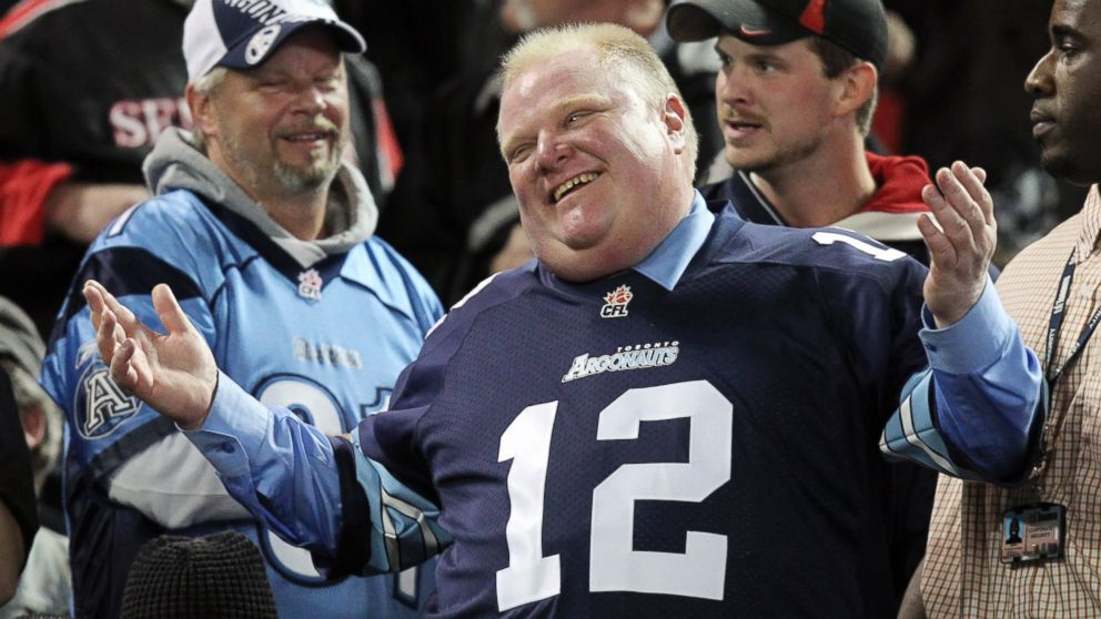 PHOTO: Toronto Mayor Rob Ford watches the CFL eastern final football game between the Toronto Argonauts and the Hamilton Tiger Cats in Toronto, Nov. 17, 2013.