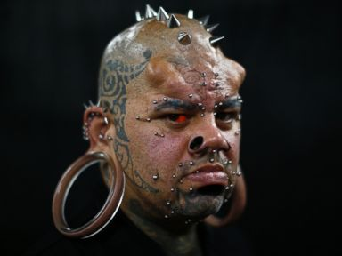 PHOTO: Kala Kaiwi, a tattoo and body modification artist from Hawaii, poses for a picture at Venezuela Tattoo Expo in Caracas, on Jan. 29, 2015.