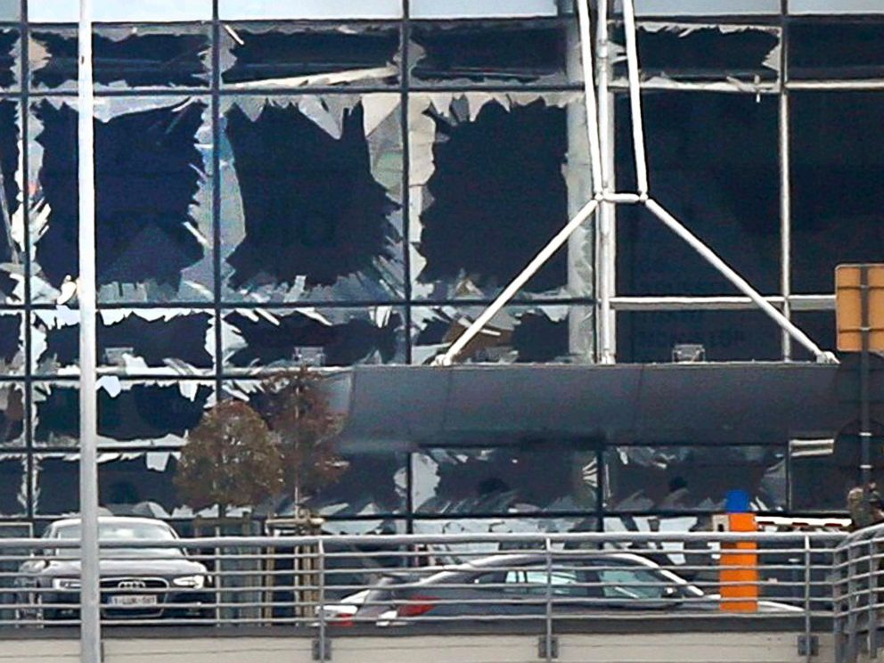 PHOTO: Broken windows seen at the scene of explosions at Zaventem airport near Brussels, Belgium, March 22, 2016.