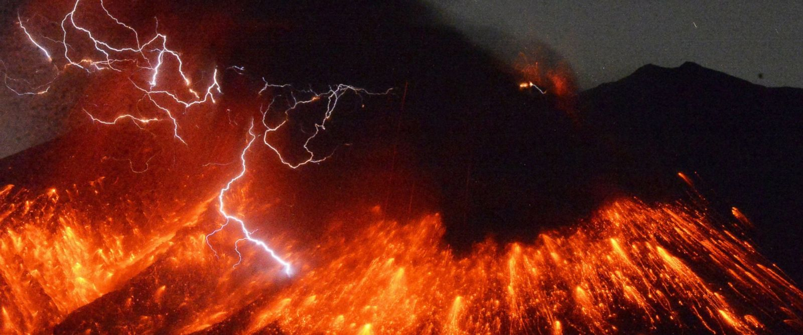 PHOTO: Volcanic lightning is seen during an eruption of Mount Sakurajima in this long-exposure photo taken from Tarumizu city in southwestern Japan, Feb. 5, 2016.