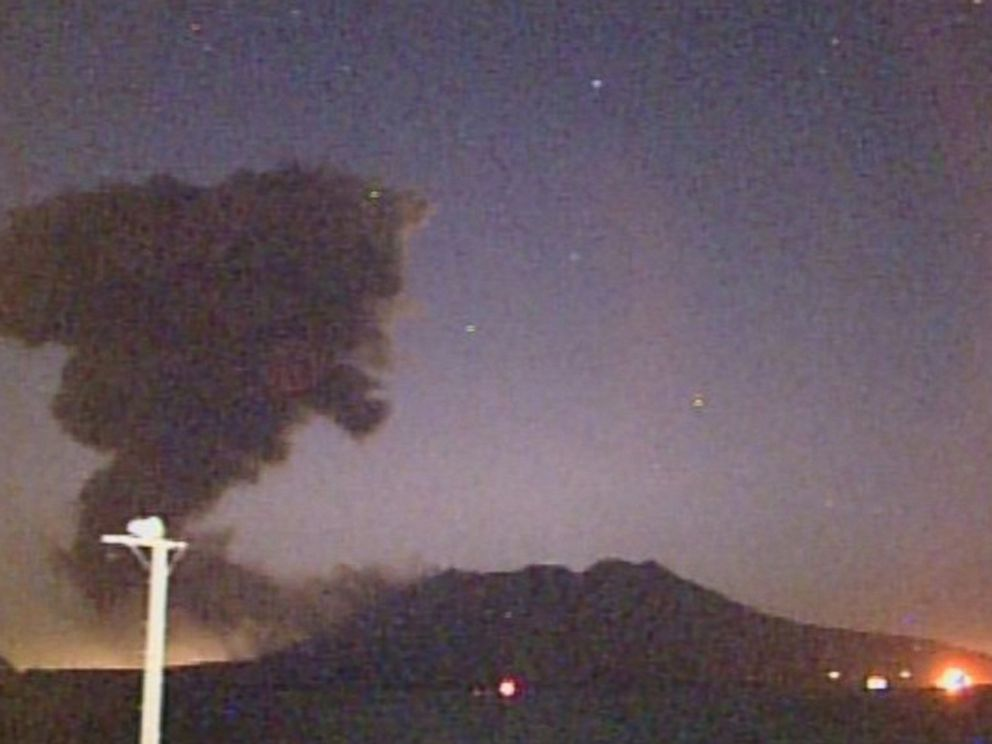 PHOTO: This handout picture released on the Japan Meteorological Agency home page on February 5, 2016 shows a volcano named Sakurajima erupting in Japan.