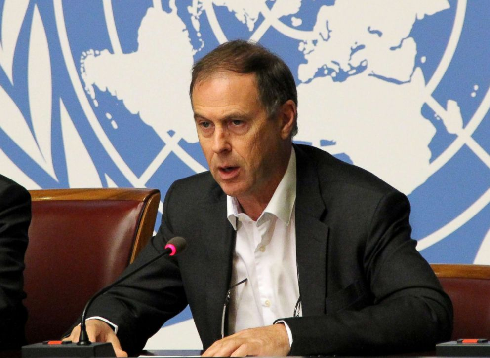 PHOTO: Rupert Colville, spokesperson for the UN High Commissioner for Human Rights (OHCHR), speaks to media about Syrian army stage air-strike over civilians in Douma, Aug. 18, 2015, in Geneva, Switzerland.
