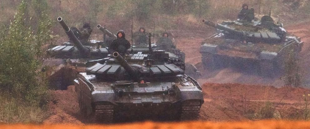 PHOTO: Russian tanks advance during a military exercise at a training ground at the Luzhsky Range, near St. Petersburg, Russia, Sept. 18, 2017.