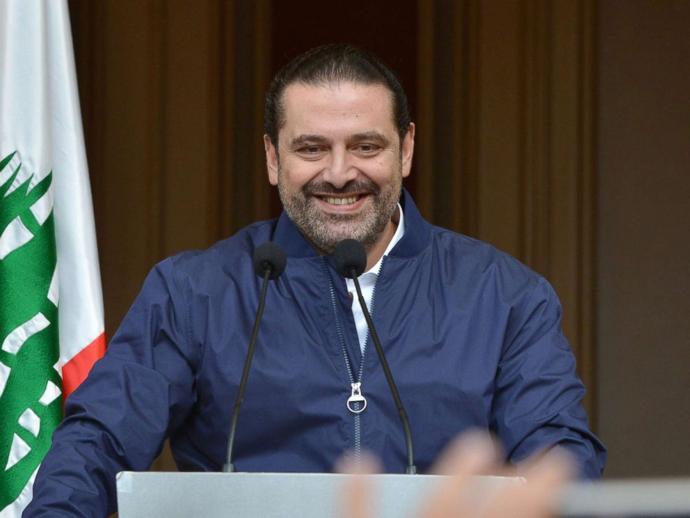 PHOTO: Lebanese Prime Minister Saad Hariri speaks to his supporters at his home in downtown Beirut, Lebanon, Nov. 22, 2017.