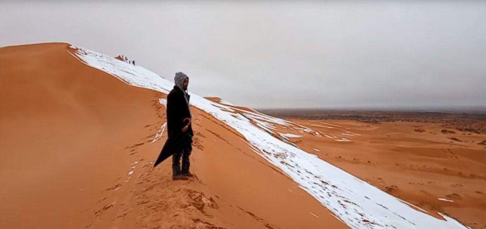 PHOTO: Rare snow blankets Sahara Desert in Algeria in video posted to Youtube, Jan. 7, 2018.