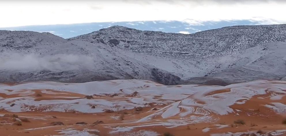 PHOTO: Snow whitens Sahara Desert in Algeria, Jan. 7, 2018.